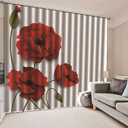 Thermo-isolerend gordijn, ondoorzichtig, rode bloemen, thermo, moderne ramen, voor slaapkamer, keuken, kinderen, verduistering, raamdecoratie