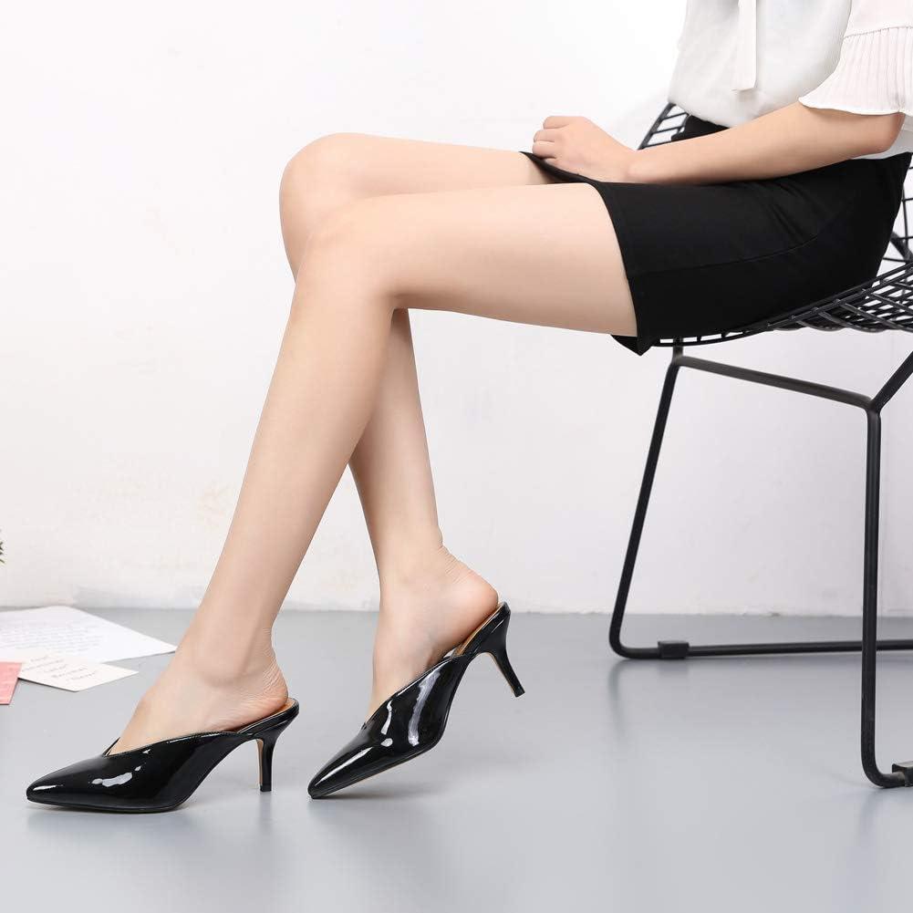 MAIERNISI JESSI Unisex Mens Womens Kitten Heel Mules Pointed Toe Slide Sandals