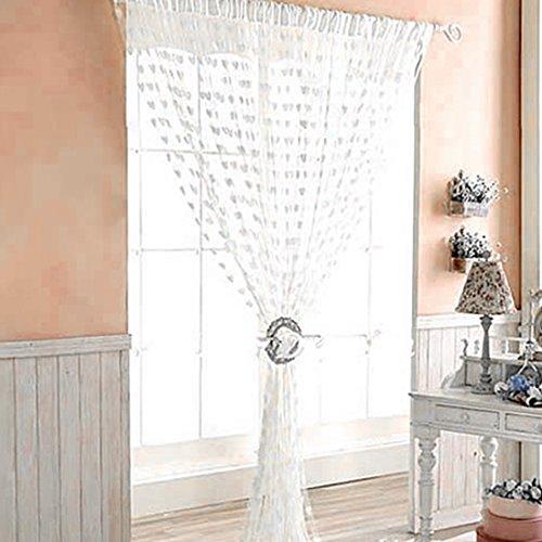 Lindo corazón línea borla cortina ventana cortina de moda romántica decoración sala de estar cortina de cadena puerta blanca