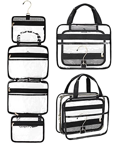 Hanging Toiletry Bag, Clear Travel Toiletry Bag with Detachable TSA Approved Small Clear Bag Airline 3-1-1 Carry On Compliant Bag...