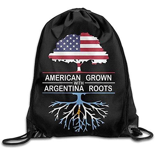 Sanme American Grown with Argentina Roots-1 Mochila con cordón Mochila Beam Mouth Bolsa Deportiva Mochila Bolsas de Hombro para Hombres/Mujeres