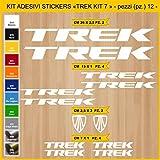 Pimastickerslab Aufkleber Fahrrad TREK_ KIT 7 Kit Aufkleber Stickers 12 Stück – bici Bike Cycle wählbar Cod.0902 (010 BIANCO)