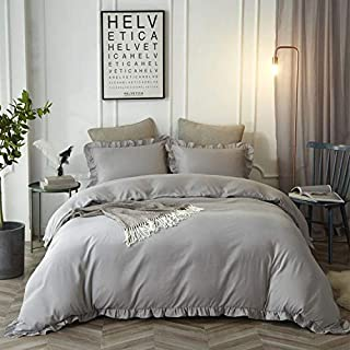 HYPREST 3 Pieces Duvet Cover Set Washed Lightweight Bedding Set with Exquisite Flouncing Duvet Quilt Cover King Size-Shabby Ruffle,Light Grey