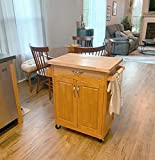Mobile Kitchen Island Cart on Wheels, Rolling Storage Cabinet in Natural Finish with Solid Wood Butcher Block Top, Wood Cutting Board Island for Small Spaces with Spice Rack, Towel Bar