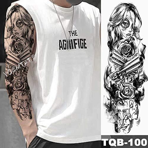 Brazo grande manga tatuaje reloj impermeable tatuaje apliques ojo hombre mujer completo tótem