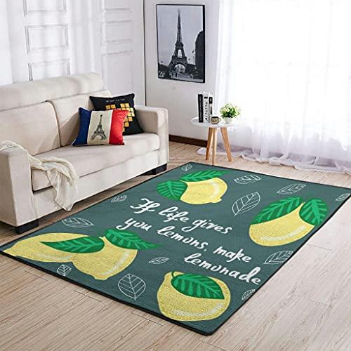 Alfombra moderna rectangular de limones, para salón, color blanco, 122 x 183 cm