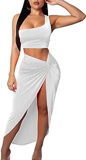 BEAGIMEG Women's Sexy One Shoulder Long Bodycon Slit Skirt 2 Pieces Dress