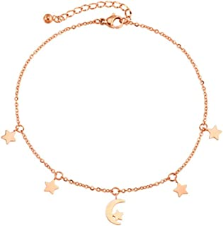 CXQ Fashion Temperament Feet Simple Star Moon Tassel Chain Rose Gold Foot Ring Jewelry Couple Accessories Gift