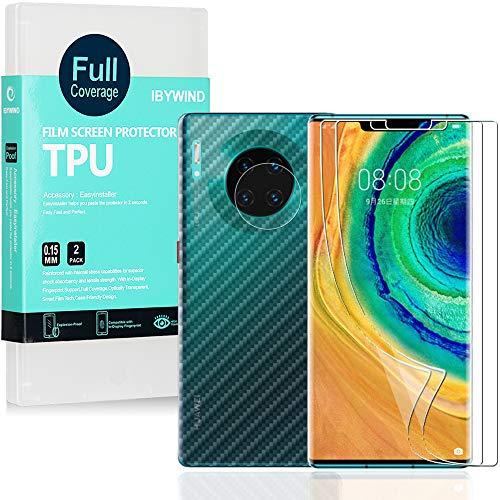 Ibywind Protector de Pantalla para Huawei Mate 30 Pro [2 Piezas],con Protector de Lente de Cámara,Atrás Pegatina Protectora Fibra de Carbono,[Admite la función de Huella Digital]