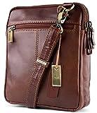 Visconti S4 Leather Small Shoulder Bag, Messenger Crossbody Bag, Handbag 7'x 8.6'x2.35' (Vintage Tan)