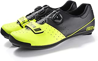OneChange Men's Cycling Shoes, Road Cycling Shoes Thermoplastic Competition Level Ultra Light Breathable Carbon Fiber Self-Locking Shoes (Color : Yellow, Size : 40EU)