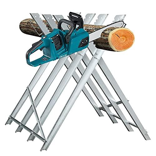 Clanmacy Sägebock 81x80x80 cm 150kg Belastbarkeit Holzsägebock Verzinkt Sägegestell Zusammenfaltbar Kettensägebock Holzbock für Kettensägen oder Handsägen