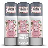 Love Beauty and Planet Desodorante Roll-on, Manteca de Murumuru y Rosa Vegano - Pack de 3 x 50 ml (Total: 150 ml)