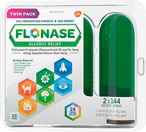 Flonase Allergy Relief Nasal Spray, 24 Hour Non Drowsy Allergy Medicine, Metered Nasal Spray - 144 Sprays (Pack of 2)