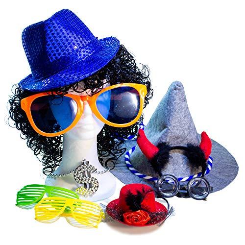 PartyPrawn Verkleidungsset FEIEREI - 10 Fotobox Requisiten für Fotos, Hochzeit und Geburtstag - Bunte Party Accessoires - Über 15 Euro Sparen durch Kauf im Set