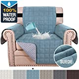 100% Waterproof Sofa Furniture Cover Suede Couch Covers for Dogs Velvet Sofa Protector Leather Chair Cover Seat Width 23' Sofa Slipcovers with 2' Strap and Non-Slip Backing (Chair, Stone Blue)