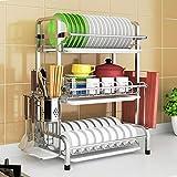 Support de vaisselle professionnel Support de cuisine Séchoir Egouttoir pour séchoir Porte-couverts Couverts OrganisateurPlateau de vaisselle en acier chromé de luxe avec coupelle à égouttoir,3floors