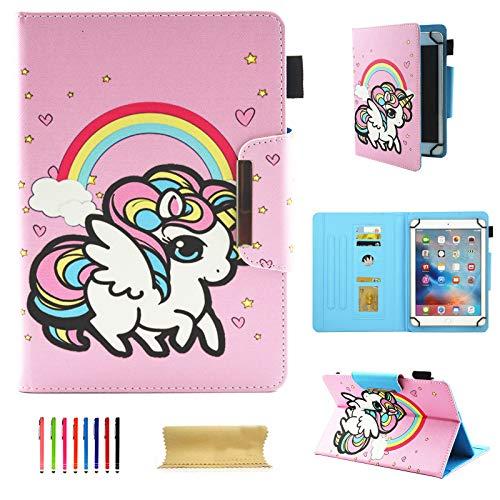 UGOcase Tablet-Schutzhülle für iPad Mini, Samsung Galaxy Tab A/E/3 8.0, F i r e hd 8, Nexus, HP, 7,5-8,5 Zoll Tablet, Candy Unicorn