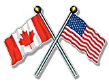 MAGNET 3x5 inch Crossed Poles USA & CANADA Waving...