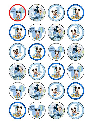 24 x 1st Birthday Baby Mickey Mouse Edible Cupcake CakeToppers