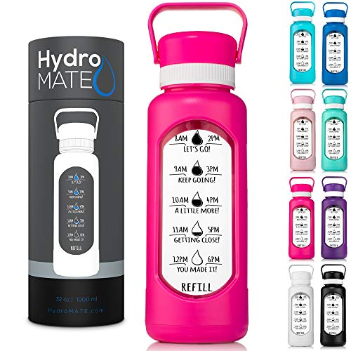 HydroMATE 32 oz Glass Water Bottle with Time Markers to Track Water Intake with Hard PlasticCover and Motivational Times to...