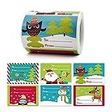 250 unids/rollo de pegatinas de Navidad Santa muñeco de nieve etiquetas de sello decorativas 6 diseños para regalo de bricolaje paquete para hornear sobres decoración de papelería
