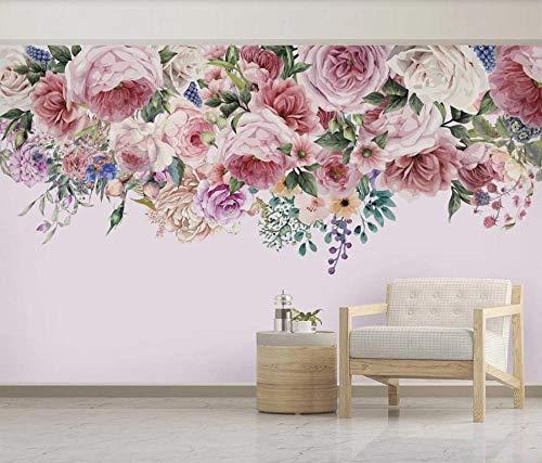 Papel Pintado 3D Vintage Rosa Flor Rosa Fotomurales Salón Dormitorio
