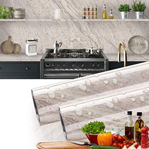 LC&TEAM Möbelfolie Selbstklebende Marmor 0.61 * 5M arbeitsplatte klebefolie ölbeständige Folie PVC Küchenschrank Hochtemperatur-Anti-Öl Aufkleber Dekorfolie für Küche und Bad Möbel Tisch Schrank