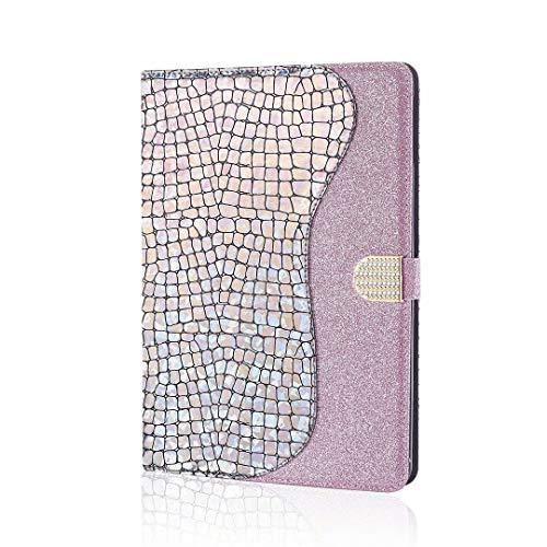 WJMWF Custodia Cover Compatibile con iPad 9.7 inch 2018/2017(6th/5th Generation) Tablet Cover Glitter PU Cuoio Portafoglio Flip Custodia con Auto Sleep/Wake e Carte Slot-Argento