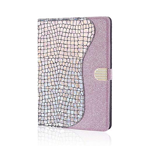 WJMWF Case for iPad 10.2 inch 2020/2019 (8th/7th Generation) Tablet Case Glitter PU Leather Wallet Flip Protective Case with Auto Sleep/Wake Function and Card Slot Case-Sliver