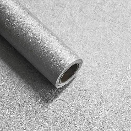 16' X 118' Silver Embossed Wallpaper Peel and Stick Silver Contact Paper Self Adhesive Wallpaper Removable Wallpaper Decoration Vinyl Wallpaper Decor Shelf Liner Drawer Liner Wall Decor Film Roll