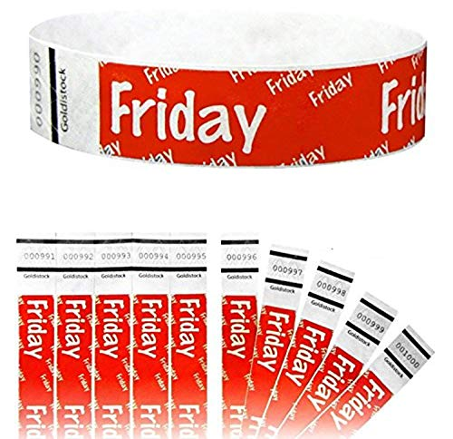 """Heavier Tyvek Wristbands 7.5 Mil - Goldistock Friday 500 Count (Neon Red) Days of The Week ¾"""" Arm Bands- Paper-Like Party Armbands - Heavier Tyvek Wrist Bands = Superior Events"""