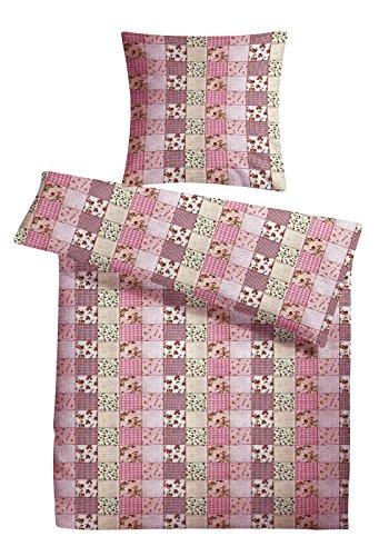 Carpe Sonno Seersucker Bettwäsche 200 x 200 cm Rosa Patchwork - Sommerbettwäsche bügelfrei aus 100% Baumwolle robuster Reißverschluss - Sommer Bettgarnitur 3tlg Bettzeug Kopfkissenbezug 80 x 80 cm