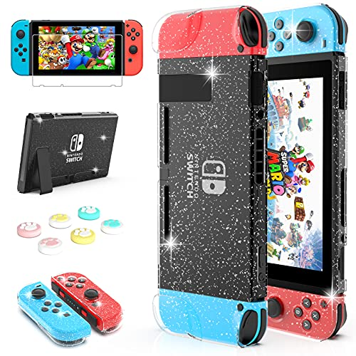 daydayup Switch Glitter Case Compatible with Nintendo Switch, Dockable Cover Protective Case with Screen Protector 6 Pcs Thumb Grips for Console & Accessories - Clear Glitter