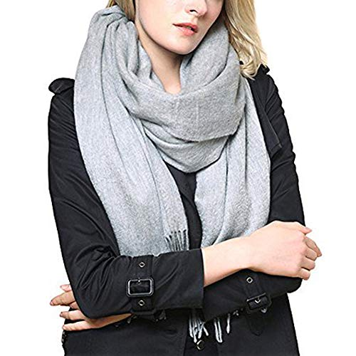 Hey~Yo vrouwen mannen sjaals en sjaals-kasjmier wol wraps met pony effen kleur warm Cape 78