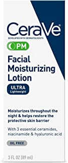 CeraVe Facial Moisturizing Lotion PM | 3 Ounce | Ultra Lightweight, Night Face Moisturizer | Packaging May Vary