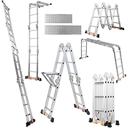 TORENA 3.6M多機能はしご ステップエイト 脚立 はしご兼用脚立 安全性能UP 簡単12変化 折りたたみ 足場 スーパーラダー アルミはしご 作業台 便利 多関節脚立(専用プレート2枚とラダー付き)