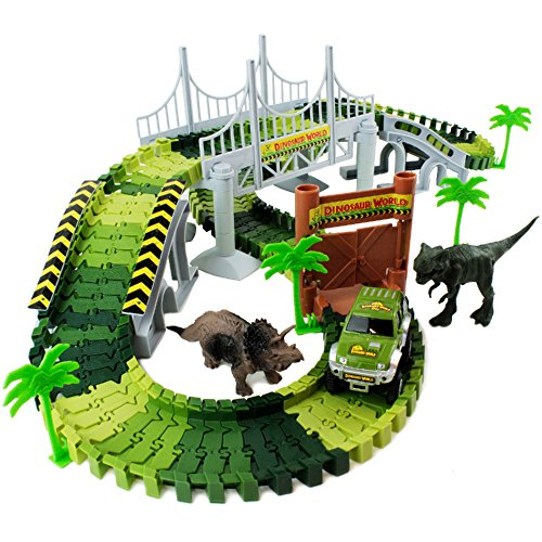 Boley Dinosaur Adventure Road Creators Playset - 142 Track Pieces and 11 Additional Pieces - Dinosaur Track, Battery Powered Car, and Dinosaurs Included - Perfect Construction Dinosaur Action Playset