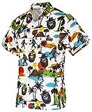 Funny Guy Mugs Mens Bigfoot Hawaiian Print Button Down Short Sleeve Shirt, Medium