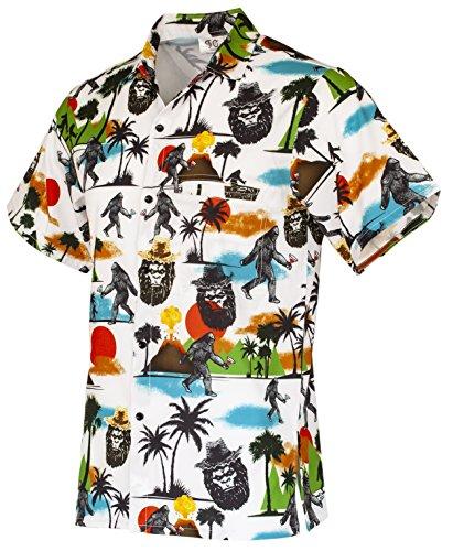 Funny Guy Mugs Mens Bigfoot Hawaiian Print Button Down Short Sleeve Shirt, X-Large