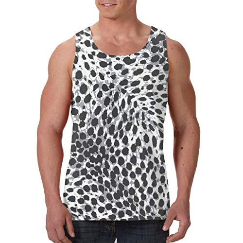 Men's Tank Top Leopard Print Chequered with Black and White Custom Workout Vest Sleeveless Shirts