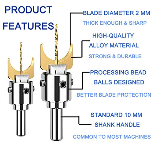 Wooden Bead Maker Drill Bit - 18Pcs 14-25mm Carbide Wood Ball Blade Milling Cutter Set Hardness Beading Router Drills Bits Woodworking Molding Tool Kit for DIY Jewelry Making