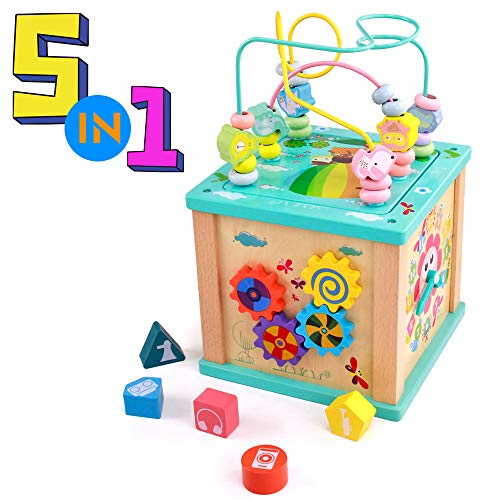 Wooden Activity Cube Game- Educational Toys Wooden Activity Center with Track Glide, Clock Teaching, Shape Sorter, Bead Maze and Spinning Gears 5 in 1 Preschool Development Learning Toys for Children