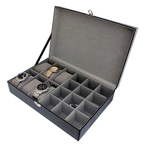 Aufbewahrungsbox für Uhren und Manschettenknöpfe, für Herren, aus strukturiertem Kunstleder, 18 Fächer, schwarz