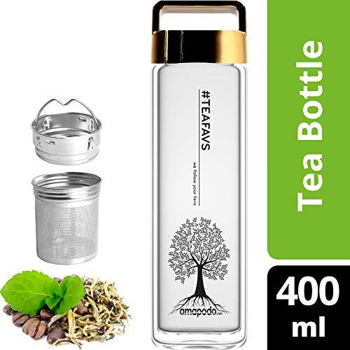 amapodo Teeflasche mit Sieb - Tee Flasche Glas to go - Tea Bottle 400ml (Gold)