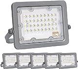 ¡OFERTA! Pack 5 unidades Foco LED OSRAM 30W Gris Slim, Iluminación Exterior IP65, Proyector terraza, jardin, patio. (Luz Natural (4000K))