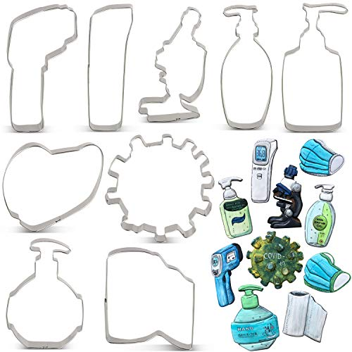 KENIAO Virus Cookie Cutter Set - By Janka J. Cookies - 9 Piece - Virus, Roll Paper, Mask, Thermometer A and B, Hand Sanitizer A, B and C, Microscope Shape Fondant Biscuit Cutters - Stainless Steel