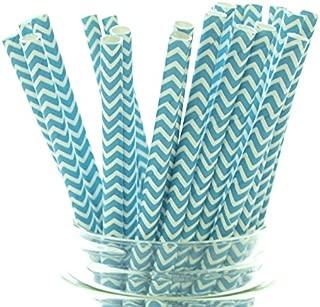 Aqua Blue Chevron Zigzag Straws - 25 - Teal Straws, Turquoise Party Paper Straws, Aqua Blue Chevron Straws