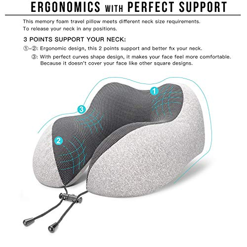 51aokBt5FvL - MLVOC Travel Pillow 100% Pure Memory Foam Neck Pillow, Comfortable & Breathable Cover, Machine Washable, Airplane Travel Kit with 3D Contoured Eye Masks, Earplugs, and Luxury Bag, Standard, Gray