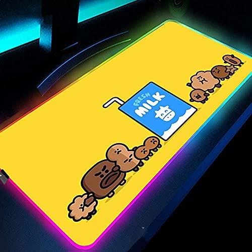 Podkładki pod mysz do gier uroczy kreskówkowy wzór mleka RGB podkładka pod mysz komputerową duże podkładki pod mysz do gier LED gracz muza dywan-żółty_400 x 900 x 4 mm